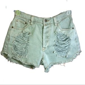 Minkpink Slasher high waisted distressed shorts S